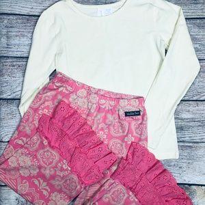 Matilda Jane girls sz 8 coral ruffle pant + top